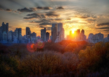 New York in the Autumn at Sunset